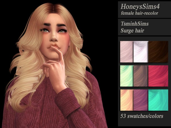 The Sims Resource: Tsminh`s Surge hair tetextured by Jenn Honeydew Hum for Sims 4