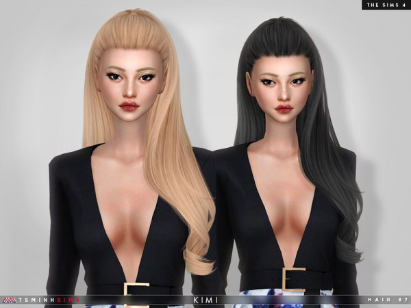 The Sims Resource: Kimi Hair 87 by TsminhSims for Sims 4