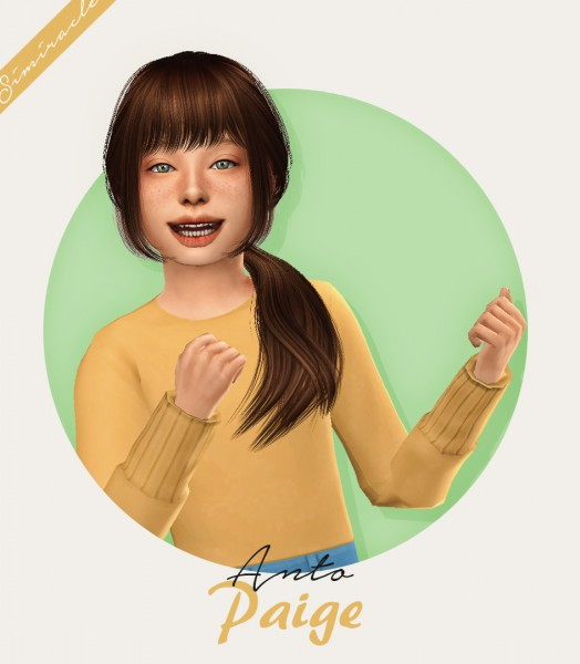 The Sims Resource: Anto`s Paige hair retextured   Kids Version for Sims 4