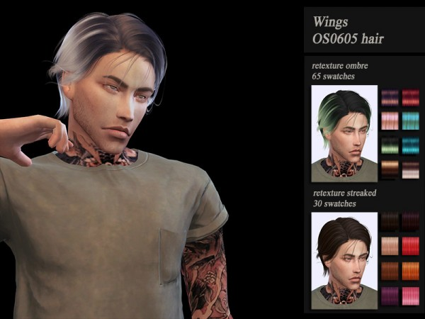 The Sims Resource: Wings OS0605 Hair Retextured by Jenn Honeydew Hum for Sims 4