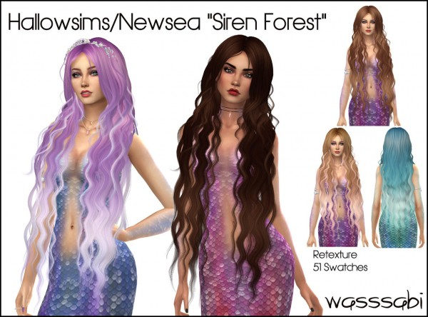 Wasssabi Sims: Newsea`s Siren Forest Hair Retextured for Sims 4