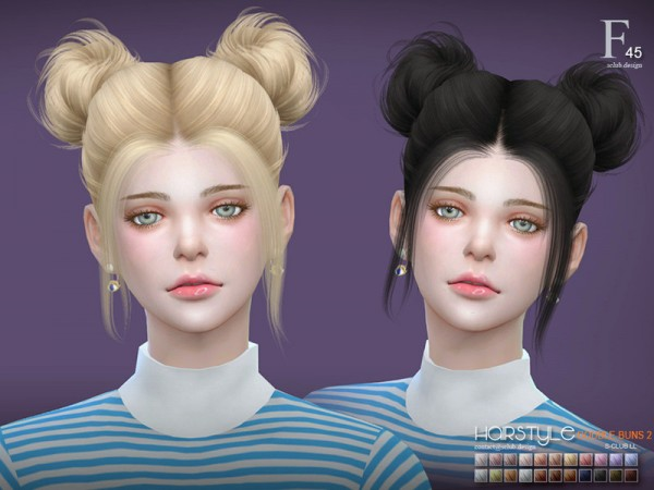The Sims Resource: Hair double buns 2 n45 by S Club for Sims 4