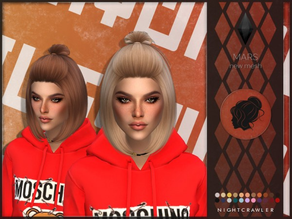 The Sims Resource: Mars hair by Nightcrawler Sims for Sims 4