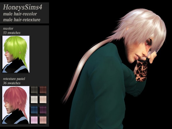 The Sims Resource: VivianDang`s Zen Tied hair retextured by Jenn Honeydew Hum for Sims 4