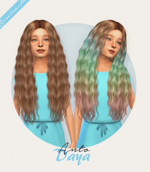 Simiracle: Anto`s Daya hair retextured   Kids Version for Sims 4