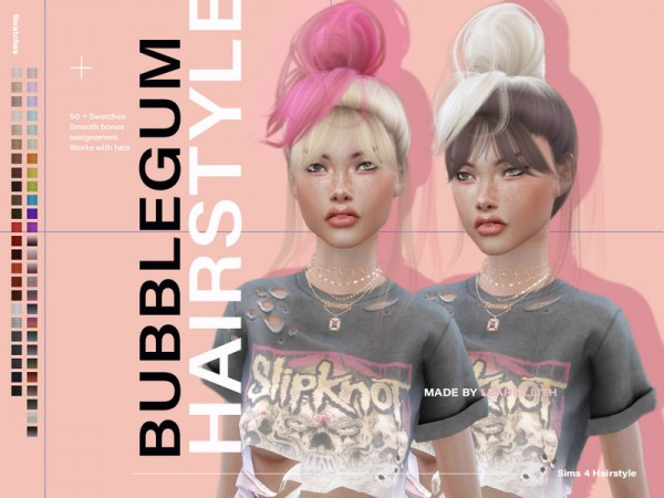 The Sims Resource: Bubblegum Hair by Leah Lillith for Sims 4