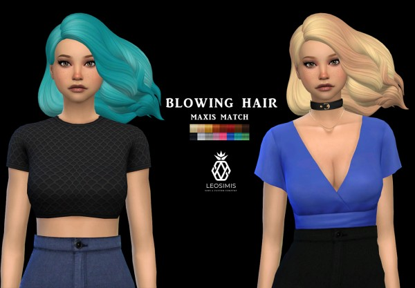 Leo 4 Sims: Blowing Hair for Sims 4