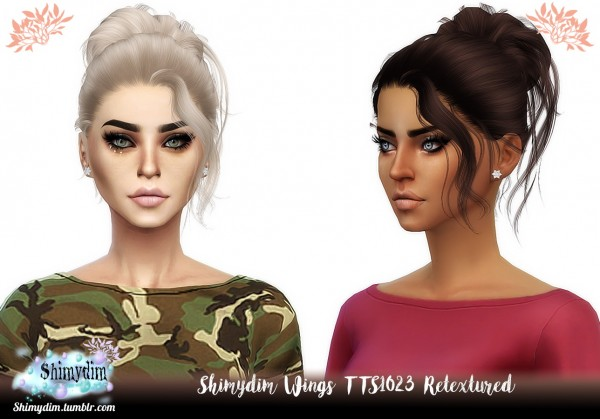 Shimydim: Wings TTS1023 Hair Retextured for Sims 4