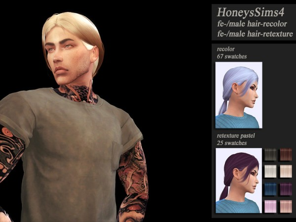 The Sims Resource: WIngs OE0212 hair retextured by Jenn Honeydew Hum for Sims 4