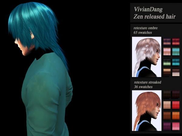 The Sims Resource: VivianDang`s Zen hair retextured by Jenn Honeydew Hum for Sims 4