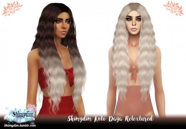 The Sims Resource: Anto`s Daya Long and Short hair retextured for Sims 4