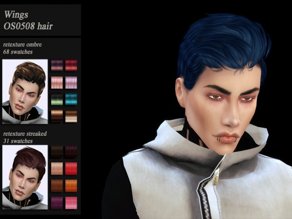 The Sims Resource: Wings OS0508 hair retextured by Jenn Honeydew Hum for Sims 4