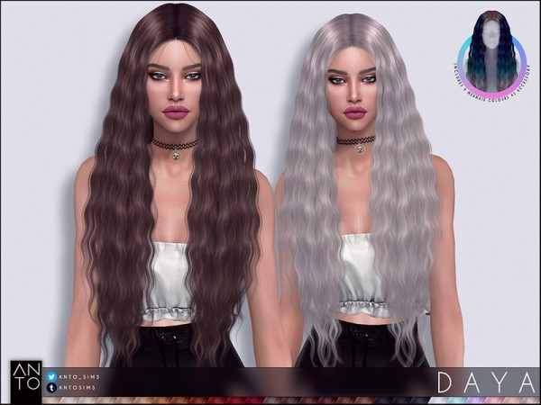 The Sims Resource: Daya hair by Anto for Sims 4