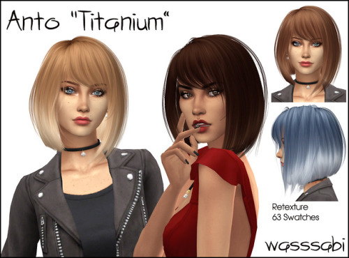 Wasssabi Sims: Anto`s Titanium Hair retextured for Sims 4