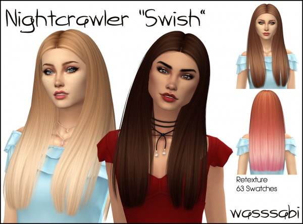 Wasssabi Sims: Nightcrawler `s Swish hair retextured for Sims 4