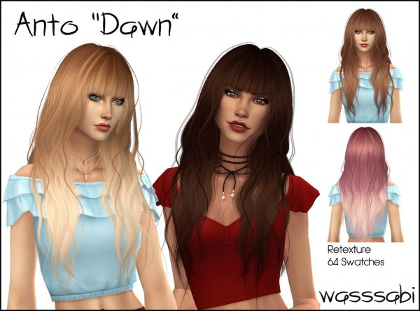 Wasssabi Sims: Anto`s Dawn Hair Retextured for Sims 4