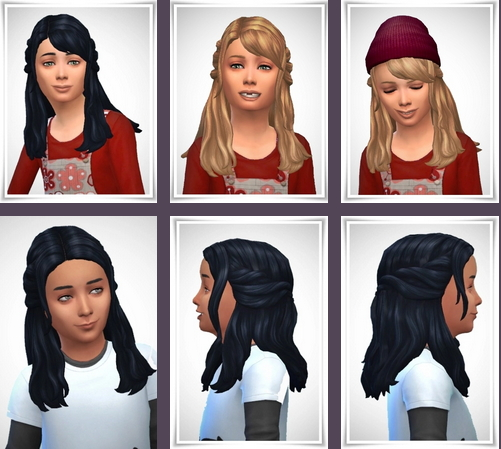 Birksches sims blog: Girly Half Up Braids 2 Hair for Sims 4