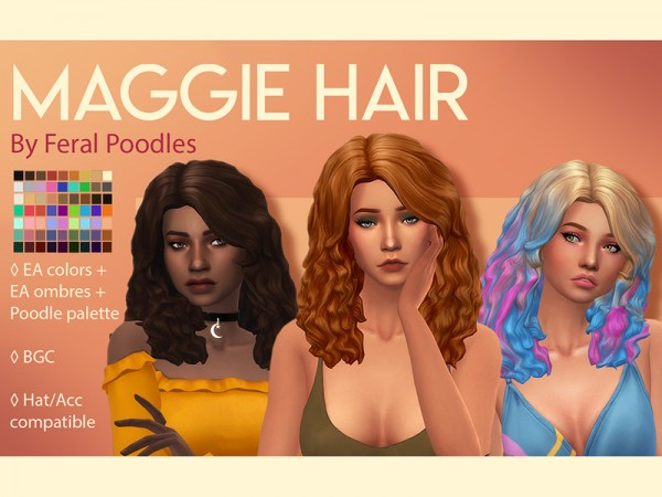 The Sims Resource: Maggie Hair retextured by feralpoodles for Sims 4
