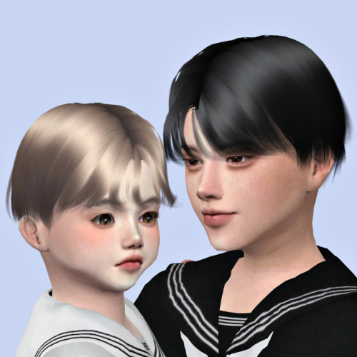 Lemon: Aqua Hair for toddlers and childs for Sims 4