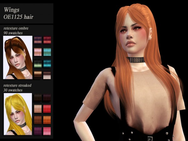 The Sims Resource: Wings OE1125 hair retextured by Jenn Honeydew Hum for Sims 4