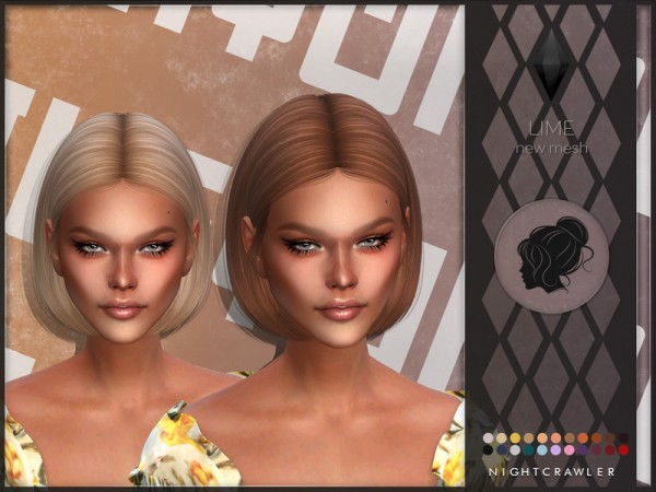 The Sims Resource: Lime hair by Nightcrawler Sims for Sims 4