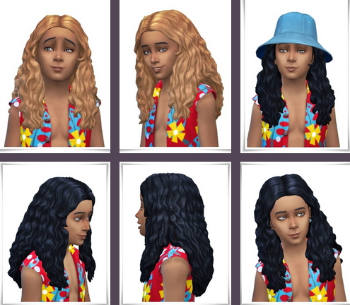 Birksches sims blog: Long Curls for Kids for Sims 4