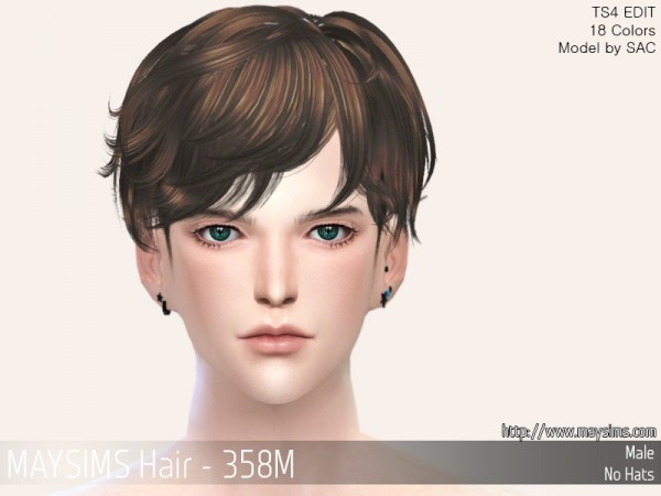 MAY Sims: MAY358M Hair retextured for Sims 4