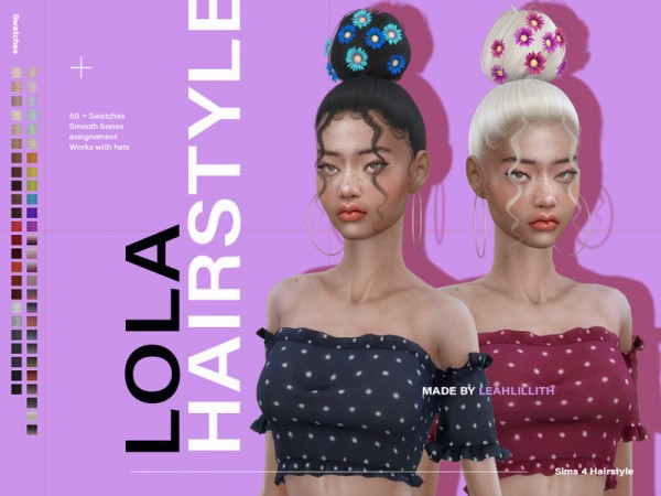 The Sims Resource: Lola Hair by Leah Lillith for Sims 4