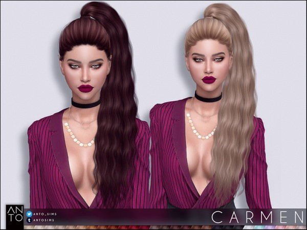 The Sims Resource: Carmen Hair by Anto for Sims 4