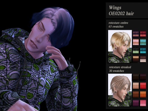The Sims Resource: Wings OE0202 hair retextured by Jenn Honeydew Hum for Sims 4