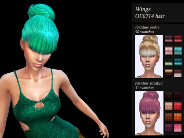 The Sims Resource: Wings OE0714 hair retextured for Sims 4