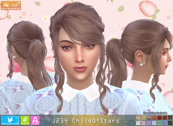 NewSea: J234 Child Of Stars Hair for Sims 4