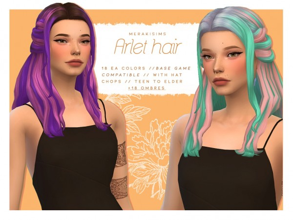 Merakisims: Arlet Hair Retextured for Sims 4