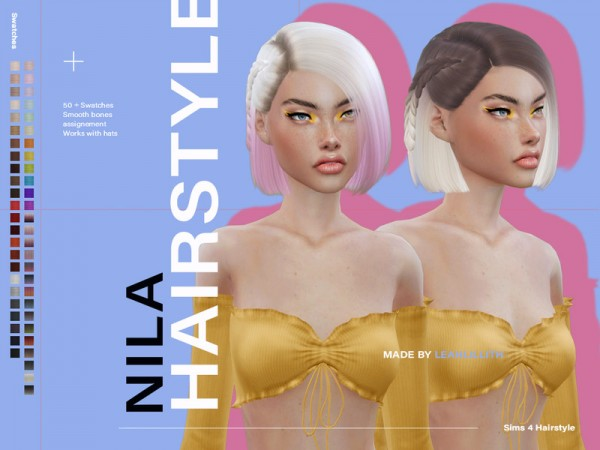 The Sims Resource: Nila Hair by Leah Lillith for Sims 4