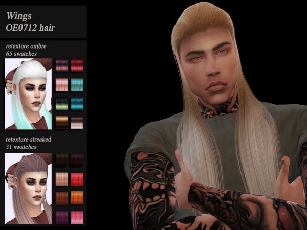 The Sims Resource: Wings OE0712 hair retextured by Jenn Honeydew Hum for Sims 4