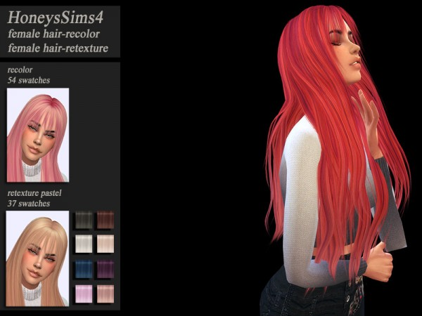 The Sims Resource: LeahLillith`s Headlines hair retextured by Jenn Honeydew Hum for Sims 4