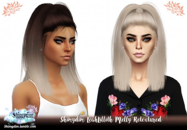 Shimydim: LeahLillith`s Melly Hair Retextured for Sims 4