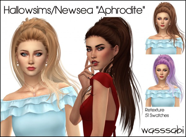 Wasssabi Sims: Newsea`s Aphrodite hair retextured for Sims 4