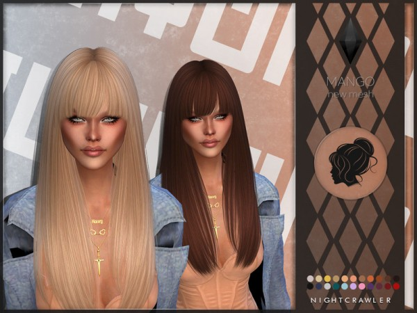 The Sims Resource: Mango hair by Nightcrawler for Sims 4