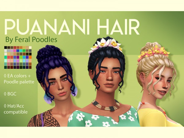 The Sims Resource: Puanani Hair Retextured by feralpoodles for Sims 4