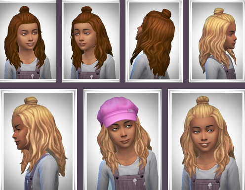 Birksches sims blog: Girl Half Bun for Sims 4