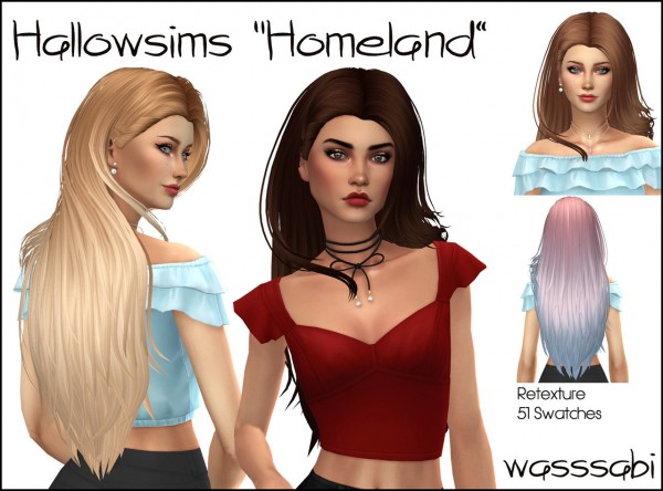Wasssabi Sims: Newsea`s Homeland hair retextured for Sims 4