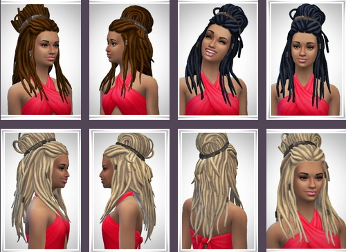 Birksches sims blog: Half Up Dreads hair for Sims 4