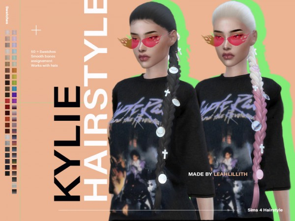 The Sims Resource: Kylie Hair by Leah Lillith for Sims 4