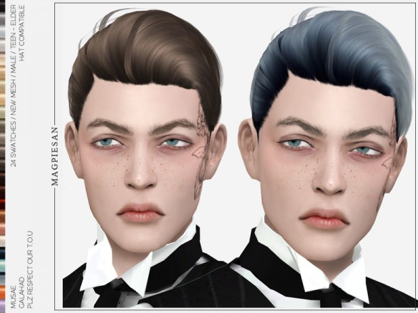 The Sims Resource: Galahad Hair by magpiesan for Sims 4