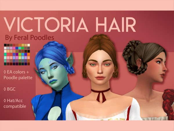 The Sims Resource: Victoria Hair by feralpoodles for Sims 4