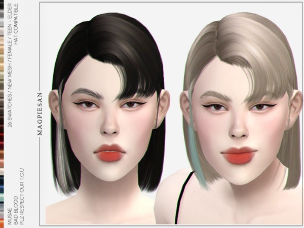 The Sims Resource: Bad Blood Hair by magpiesan for Sims 4
