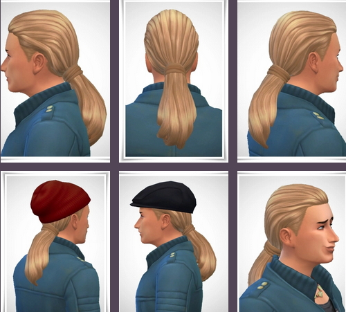 Birksches sims blog: Gents Smooth Pony Tail for Sims 4