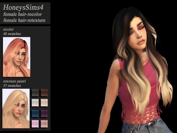 The Sims Resource: Wings OE1102 hair recolored for Sims 4