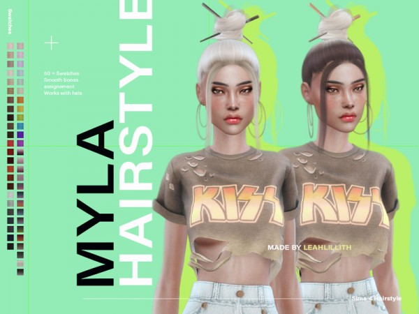 The Sims Resource: Myla Hair by Leah Lillith for Sims 4